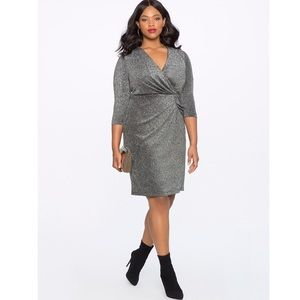 Eloquii draped front metallic wrap dress